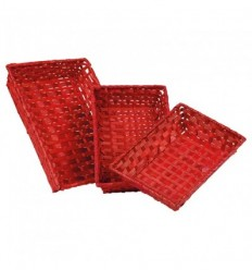 Corbeille rectangle Bambou rouge M